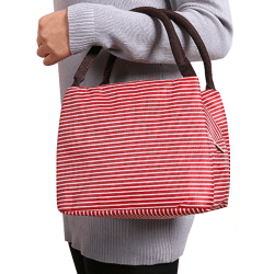 Children Adult Large-capacity Portable Outdoor Striped Lunch Bag red
