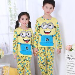 Children Cartoon Round Neck Long Sleeve Sleepwear Pajamas Set Minions 6-7 years