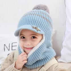 Children Cute Hats Winter Crochet Hat Scarf Blue