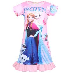 Children Kid Girl Nightdress Frozen Aisha Anna Pattern Skirt pink 110cm