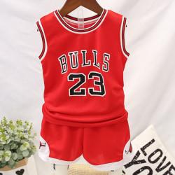 Barn Kid Sommar Kortärmad Basketkläder Kostym Casual red 150cm