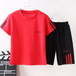 Barn Kid Sommar Sport Kortärmad Kläder Kostym Casual red 120cm
