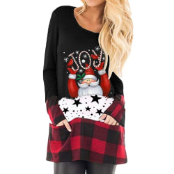Christmas Long Sleeve Women Top Ladies Cute black L