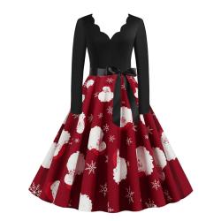 Christmas Santa Claus Cute Print Women Dress 2XL