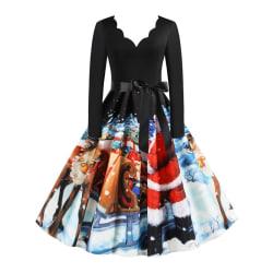 Christmas Women Santa Printed Elegant Festival Party Dresses XL