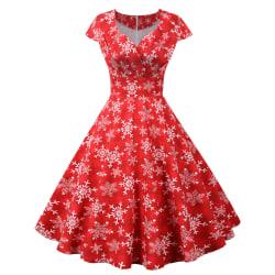 Christmas Women Short Sleeve V Neck Swing Dress Party Dresses JY14952L L