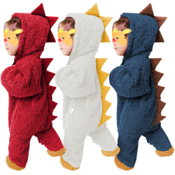Climbing Infant Dinosaur Hooded Jumpsuit Autumn Winter Outfits White 9-12 Months