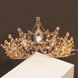 Crown Girls Wedding Hair Accessories Gems Bridal Tiara Bride gold