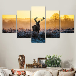 Deer and Grass Pentathic Wall Home Art Decoration Painting
