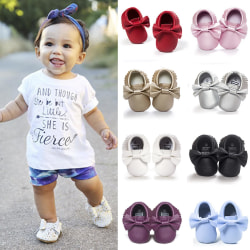 Fashion Baby Tassels Moccasin Shoes Newborn Leather white 12