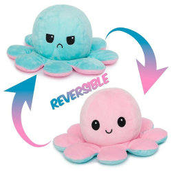 Double-sided Flip Reversible Octopus Kid Plush Toy Gift  pink-light blue