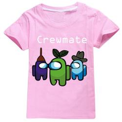 Games Among Us Kids Boy Girl Unisex 3D Printed T-shirts Tee Tops Pink 9-10Years