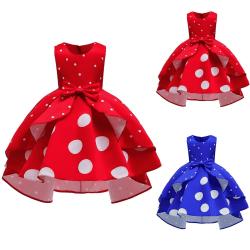 Girl Polka Dot Solid Color Dress Children royalblue 110 cm