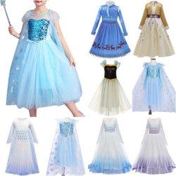 Girls Elsa Anna Princess Tutu Dress Cosplay Costumes Halloween light blue 120cm