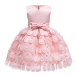 Girls Feather Mesh Skirt Princess Dress Evening Catwalk Dress pink 110