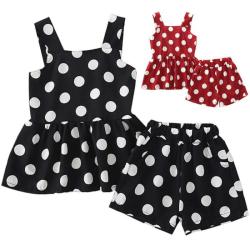 Flickor Barn Polka Dot Ruffle Tank Tops Shorts Outfit 2PCS Party Red 4-5Years