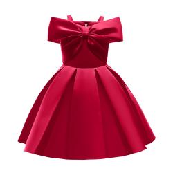 Girls Off Shoulder Dress Wedding Formal Gown Princess Dresses Red 5-6Y