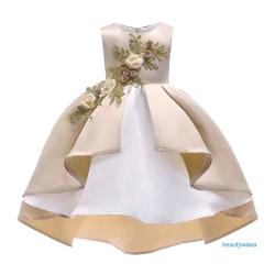 Girls Princess Bridesmaid Sleeveless Flowers Pattern Dress Champagne 100 cm