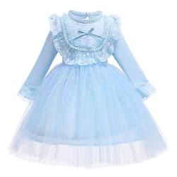 Girls Western Style Princess Long-sleeved Cotton Lace Mesh Skirt light blue 100