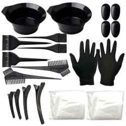 Hair Dye Color Profession Kit Brush Comb Black Clips Mixing