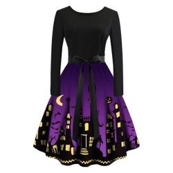 Halloween Castle Printed Retro Dress Women Fashion purple L