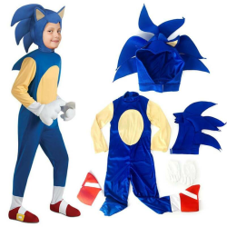 Halloween Hedgehog Sonic Cosplay Costume Party Boys Fancy Dress Blue 6-10 Years