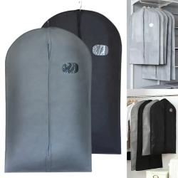 5pcs Hanging Breathable Clothes Covers Dress Storage Protector black L 5pcs