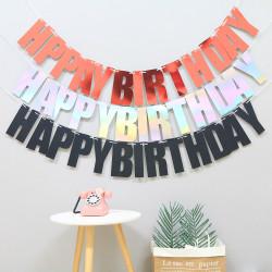 Grattis på födelsedagen Bunting Banner Hanging Letters Party Decoration Pink