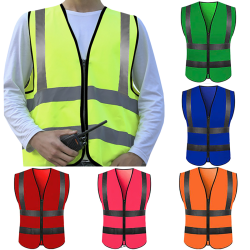 High Visibility Zipper Front Safety Waistcoat With Reflective pink XL