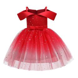Hot Sale One-shoulder Princess Dress Puffy Dress Skirt Girl red 120