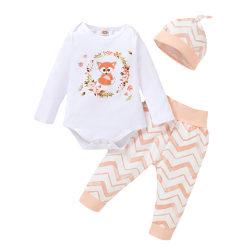 Infant Toddler Girls Fox Print Romper Tops Pants Hat Outfit Set Fox Print Top + Pants + Hat 6-12 Months