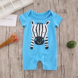 Kid Baby Newborn Blue Short Sleeve Romper Cute Hippo Print blue 60 cm