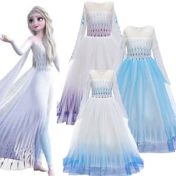 Kid Frozen 2 Queen Elsa Cosplay Costume Girl Party Fancy Dress Gradient blue 130cm