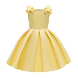 Kid Girl Party Dress Child Princess Off Shoulder Wedding Dresses Yellow 4-5Y