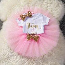Kids Baby Girls 1st Birthday Party Dress Tutu Skirt Headband Pink 8-12 Months