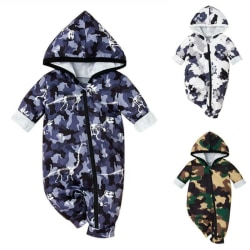 Kids Baby Girls Boy Camouflage Long Sleeve Hooded Zipper Romper Green 12-18 Months