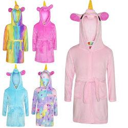 Kids Bath Robe Animal Unicorn Pajamas Night Wear rainbow 130 cm