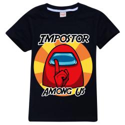 Kids Boys Girls Among Us Game T-shirt Impostor Gaming Xmas Gift Black 11-12 Years