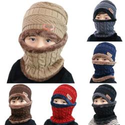 Kids Child Winter Warm Knitted Solid Ski Beanie Hat Scarf Khaki