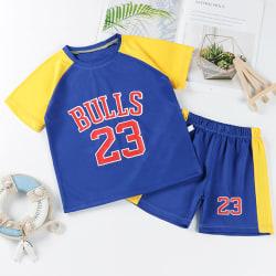 Barn Barn Pojke Sport Basket Uniform Kortärmad kostym yellow shoulder blue 140cm