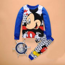 Kids Girls Cartoon Top Pants Pajamas Sleepwear Set blue&white 100cm