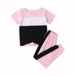 Kids Girls Casual Loose Pink T-Shirts Pants Short Sleeve Tee Top pink 3-4 Years
