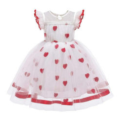 Kids Girls Heart Printed Mesh Tulle Tutu Dress Layer Wedding White 3-4 Years