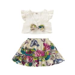 Kids Girls Outfit Set V Neck Tops + Floral Print Kjolkläder 12-18 M
