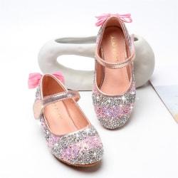 Barnflickor Sequin Bling Princess Vintage Party Crystal Shoes Pink 27