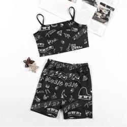 Kids Girls Set Strappy Vest Tops + Shorts Nattkläder Nattkläder 9-10 Y