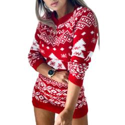 Knit Sweater Women All-match Christmas Theme Long Sleeve Dress red 2XL