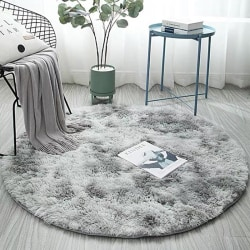 Living Room Round Gradient Carpet Tea Table Mats Home Decoration water grey 100*100cm