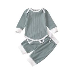 Newborn Baby Boys Girl Romper Infant Jumpsuit Top Long Pants Set Green 6-12 Months