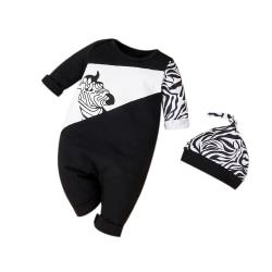 Newborn Baby Boys Girls Zebra Print Romper Hats Outfit Jumpsuit Black 0-6 Months